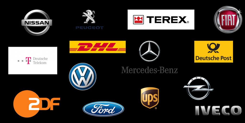 Bester Service für Namhafte Kunden DHL VW TEREX Mercedes Ford UPS